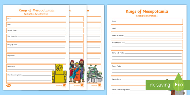 Kings Of Mesopotamia Fact File Creation Activity Ancient