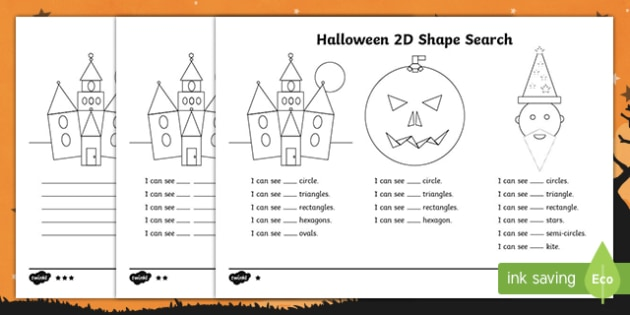 Halloween 2D Shape Search Worksheet / Activity Sheet