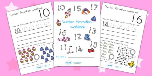 Number Formation Workbook 10 20 - number formation, motor skills, overwriting