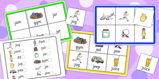 Initial j Sound Bingo and Lotto Game - sounds, bingo, lotto, game
