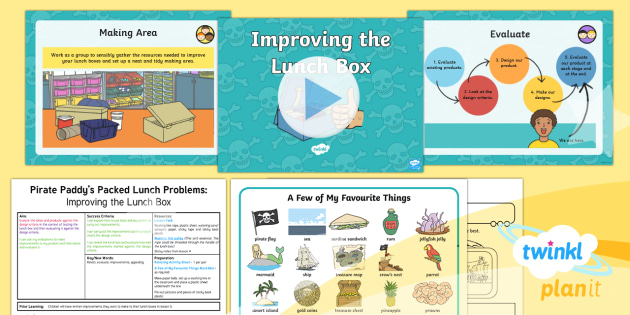 D&T: Pirate Paddy's Packed Lunch Problems: Improving the Lunch Box KS1 Lesson Pack 6