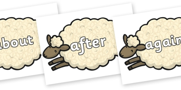 KS1 Keywords on Sheep - KS1, CLL, Communication language and literacy, Display, Key words, high frequency words, foundation stage literacy, DfES Letters and Sounds, Letters and Sounds, spelling