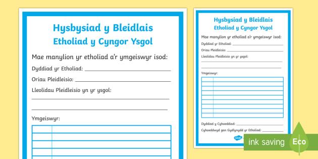 Hysbysiad y Bleidlais Etholiad y Cyngor Ysgol Taflen Weithgaredd-Welsh - cyngor, ysgol, ethol, etholiad, pleidleisio, ,Welsh - cyngor, ysgol, ethol, etholiad, pleidleisio, ,Welsh