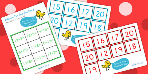 Addition Tic Tac Toe Game To Twenty - addition games, math, games