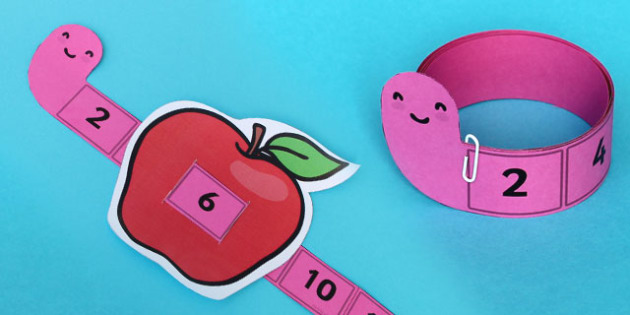 Worm and Apple Counting Up In 2 Strip - numbers, count, strips