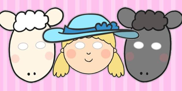 Little Bo Peep Role Play Masks - Little Bo Peep, nursery rhyme, rhyme, rhyming, nursery rhyme story, nursery rhymes, Little Bo Peep resources, sheep, role play mask, role play