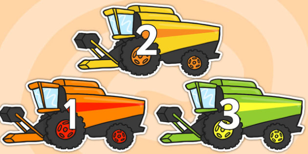Numbers 0-31 on Cobine Havesters - Combine Harvester, Foundation Numeracy, Number recognition, Number flashcards, 0-30, A4, display, harvest,  harvest festival, fruit, apple, pear, orange, wheat, bread, grain, leaves, conker
