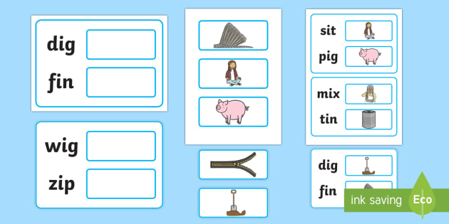 Workstation Pack:  Picture to CVC (i) Two Word Matching Activity Pack