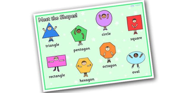 Meet the Shapes Word Mat - meet the shapes, shapes, shapes word mat, 2d shapes, 2d shapes word mat, meet the shapes mat, shapes words, shapes key words