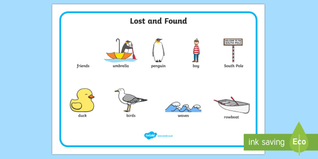 Word Mat to Support Teaching on Lost and Found -stories, story books, word mats , lost