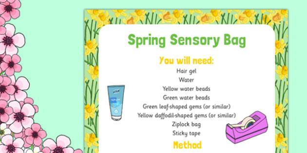 Spring Sensory Bag - spring, green, yellow, eyfs, sensory bag, sensory