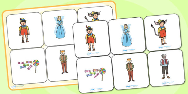Pinocchio Matching Cards and Board - pinocchio, pinocchio picture matching game, pinocchio image matching activity, traditional tale matching game, sen