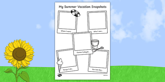 Summer Vacation Snapshots Writing Frame - summer, vacation, write