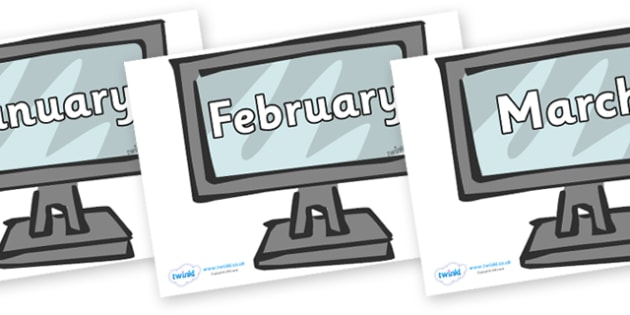 Months of the Year on Monitors - Months of the Year, Months poster, Months display, display, poster, frieze, Months, month, January, February, March, April, May, June, July, August, September