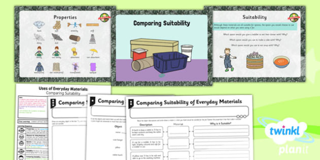 Science: Uses of Everyday Materials: Comparing Suitability Year 2 Lesson Pack 3