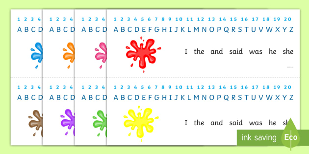 Splat Combined Number and Alphabet Strips - alphabet, number