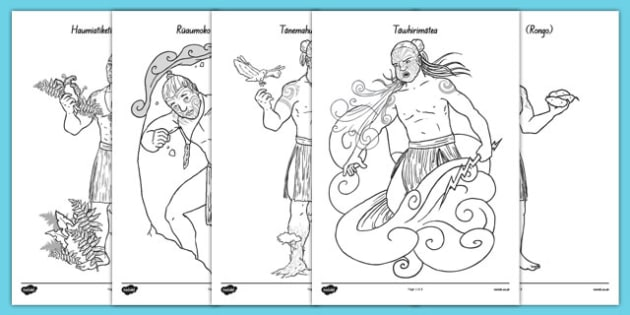 Maori Gods Colouring Sheets