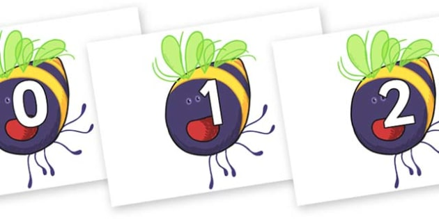 Numbers 0-50 on Bumblebee to Support Teaching on The Crunching Munching Caterpillar - 0-50, foundation stage numeracy, Number recognition, Number flashcards, counting, number frieze, Display numbers, number posters