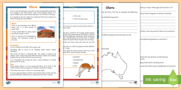 Uluru Fact File Activity Sheet, worksheet