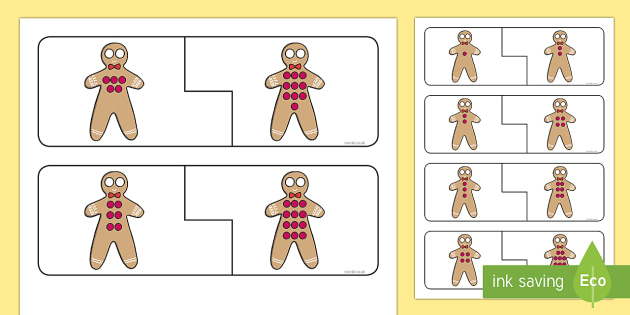 Gingerbread Man Doubling Buttons Puzzle - The Gingerbread Man, Traditional Tales, mathematics, maths, number, double, half, halve, puzzle