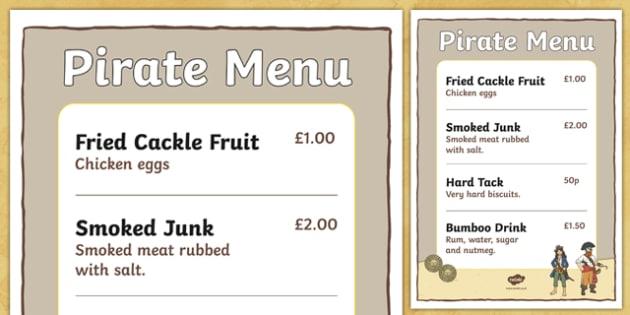 Pirate Menu - pirates, pirate, pirate food menu, pirate food, pirate recipes, pirate role play menu, pirate role play, pirate foods, pirate food menu, food