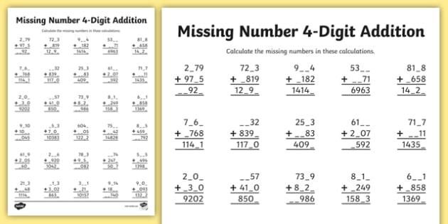 4 Digit Missing Number Addition Worksheet Activity Sheet