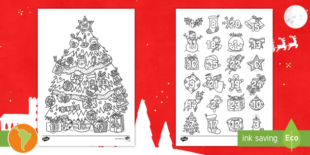 Hojas para colorear: Árbol y Calendario de Navidad - Colorear