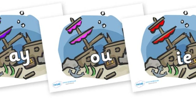 Phase 5 Phonemes on Ship Wrecks - Phonemes, phoneme, Phase 5, Phase five, Foundation, Literacy, Letters and Sounds, DfES, display