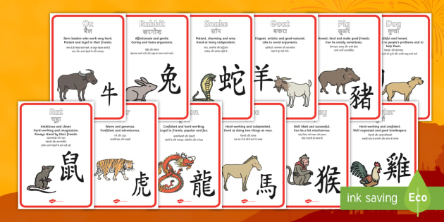 chinese new year zodiac animal characteristics display posters englishhindi display posters - Chinese New Year Animal