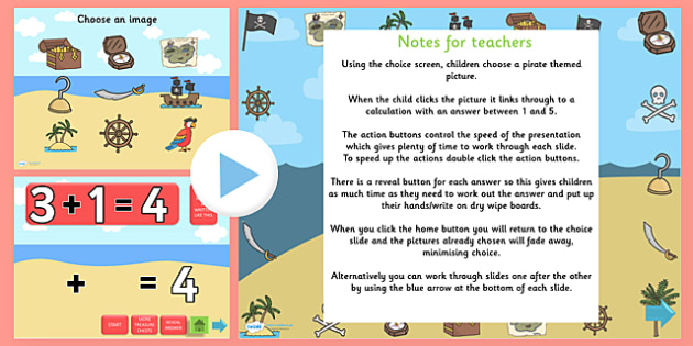 Pirate Themed Addition PowerPoint - pirate, addition, adding, plus, powerpoint, addition powerpoint, maths, numeracy, numeracy powerpoint, themed addition