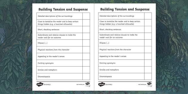 Building Tension And Suspense Writing Checklist