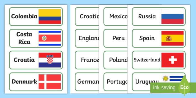 world cup country and flag labels football flag world cup
