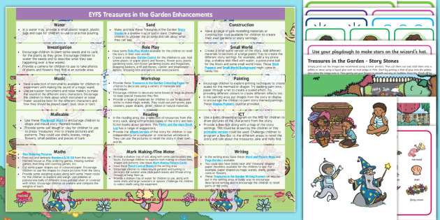 EYFS Treasures in the Garden Enhancement Ideas and Resources Pack - EYFS, Early Years Planning, Adult Led, topic plan, Twinkl Fiction, Twinkl Originals, Story, Treasure, planning