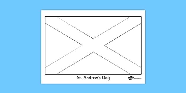 St. Andrew Flag Colouring Sheet - st andrews day, flag
