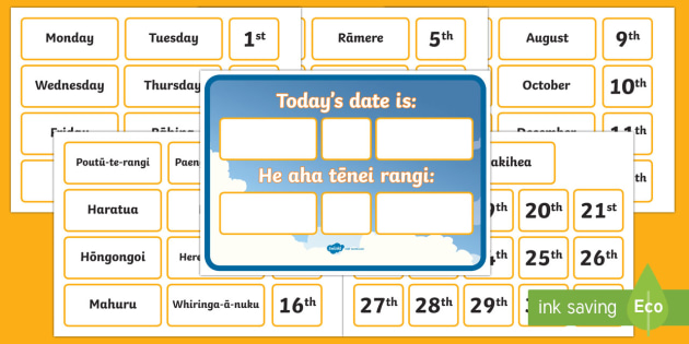 Todays date is Display Pack - Te Reo Maori / English - New Zealand, Back to School, maori, NZ, date, calendar, day, month,