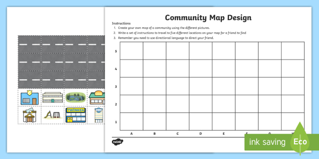 Direction Map Australia.New Community Map Design And Directions Activity Sheet Map Mapping