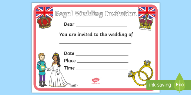 Design a royal wedding invitation activity harry and meghan design a royal wedding invitation activity harry and meghan writing invite ks1 stopboris Images