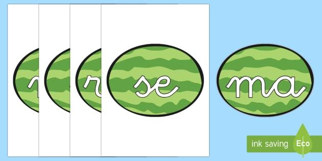 Tarjetas de sílabas: Sandías - lecto, leer, primeros sonidos