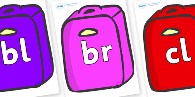 Initial Letter Blends on Suitcases - Initial Letters, initial letter, letter blend, letter blends, consonant, consonants, digraph, trigraph, literacy, alphabet, letters, foundation stage literacy