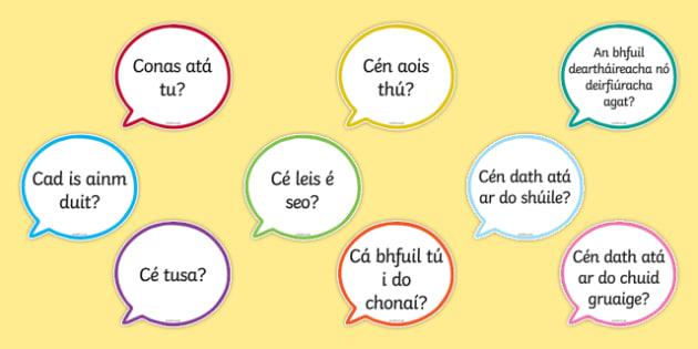 Useful Questions Speech Bubbles Gaeilge - useful questions, speech bubbles, gaeilge, irish