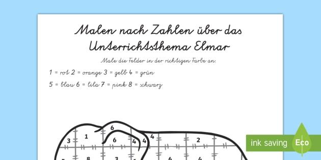 Malen nach Zahlen über das Unterrichtsthema Elmar - Elmer