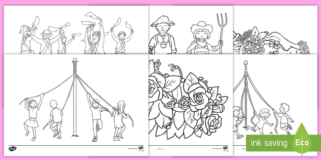 May Day Colouring Pages maypole