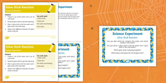 EYFS Glow Stick Reaction Science Experiment and Prompt Card Pack