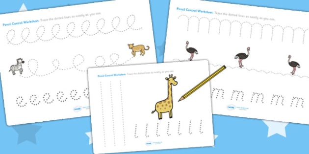 Safari Themed Pencil Control Path Worksheets - fine motor skills