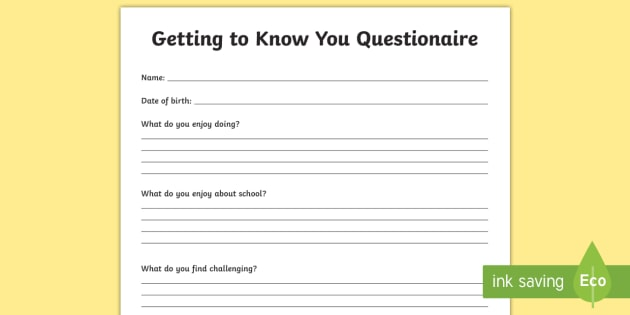 Getting To Know You Questionnaire Worksheet Activity Sheet