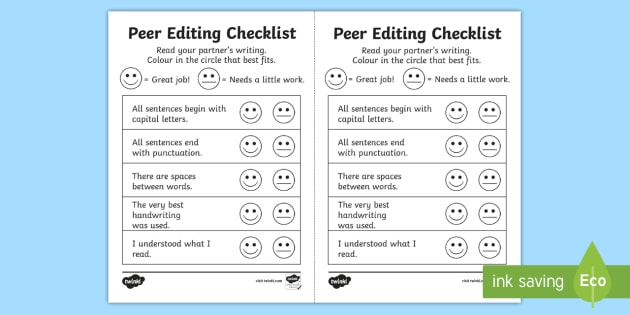 Peer Editing Checklist Peer Editing Foundation Year 1