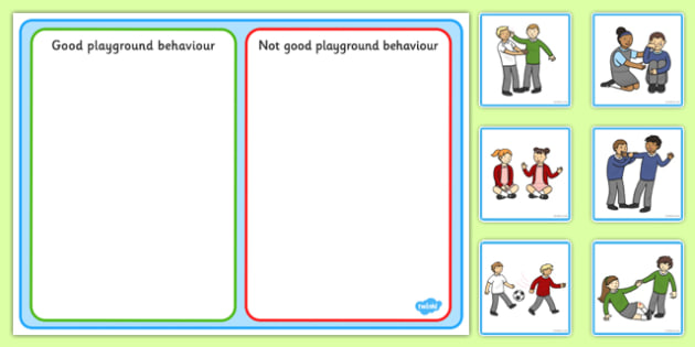 Good Playground Behaviour Sorting and Discussion Cards - good, playground, behaviour, sorting, discussion, cards