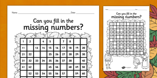 Thanksgiving Missing Numbers Number Square - numeracy, visual