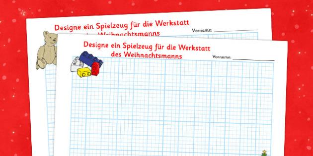 Designe ein Spielzeug für die Werkstatt des Weihnachtsmanns German - german, christmas, toy, design, sheets, toy design