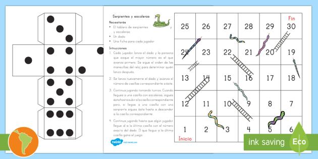 New Juego De Mesa Serpiente Y Escaleras Hasta El 30 Material De